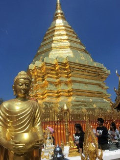 The temple on top of a mountain in Chiang Mai. So many people were there, but definitely worth it.