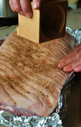 The dry spice and herb mix gets rubbed in... 13h27