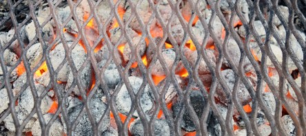 make sure the charcoal is burned through and the grid clean before placing the meat on... you don't want fumes or dirt spoiling your meat!