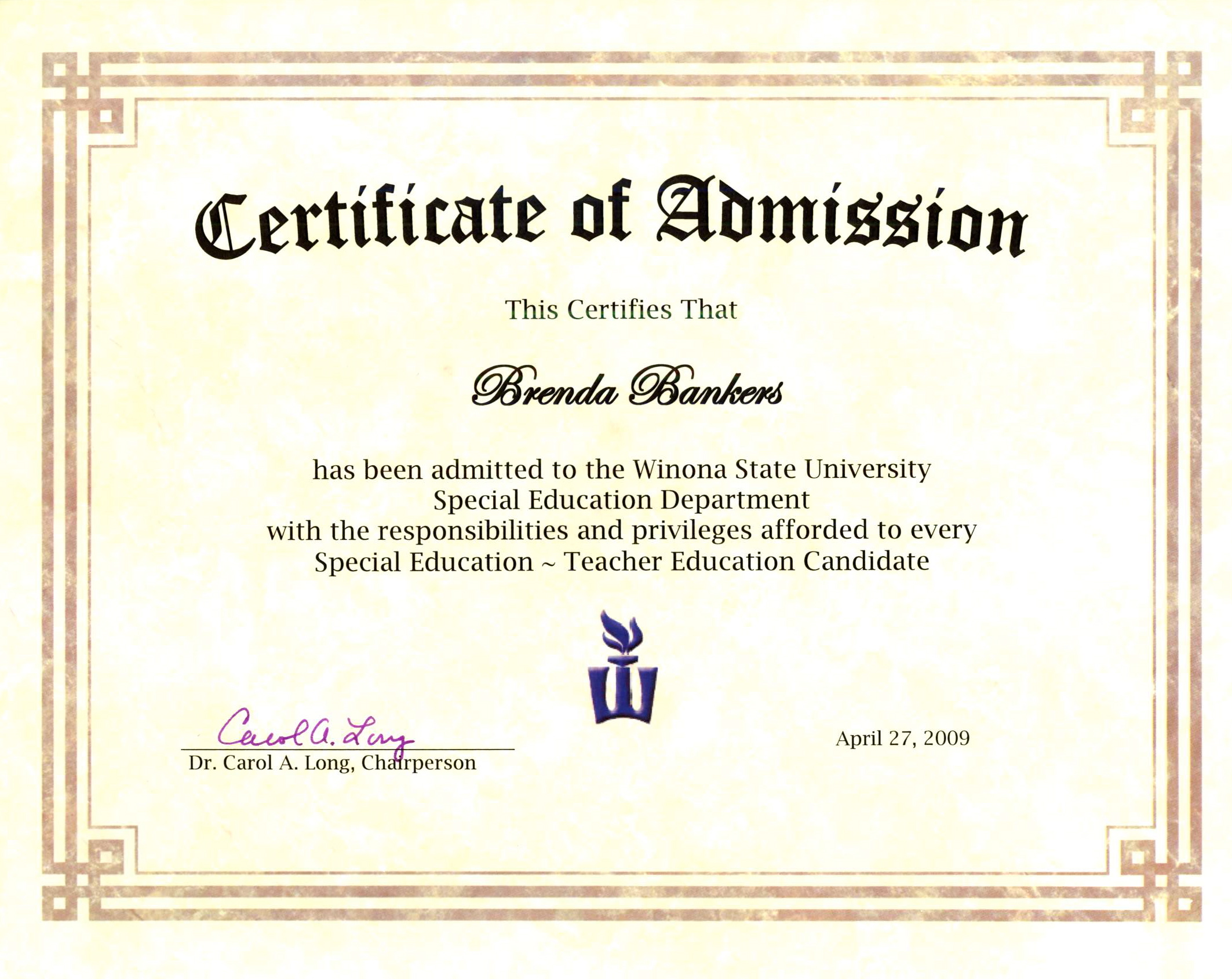 Certificate Of Admission To Winona State University's