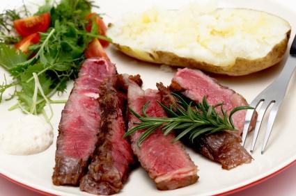 Wagyu ribeye dinner closeup