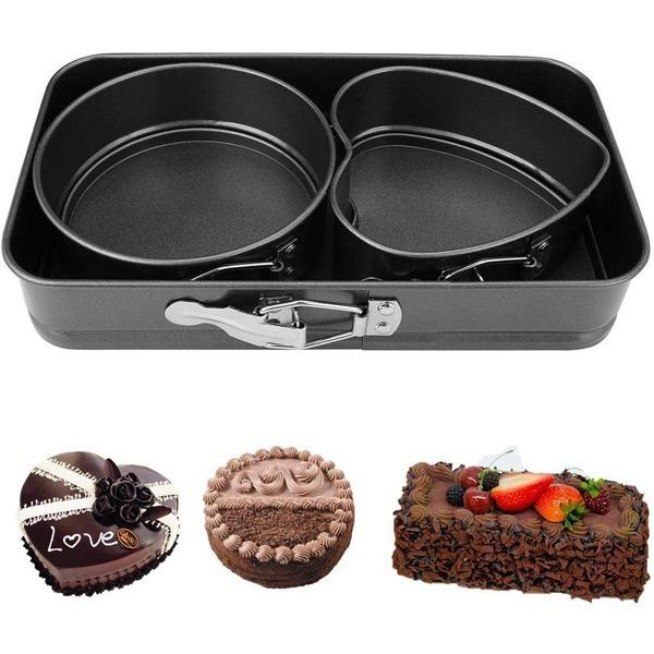 Multiple Shape Metal Moulds for Baking Non-Stick Cake Tins