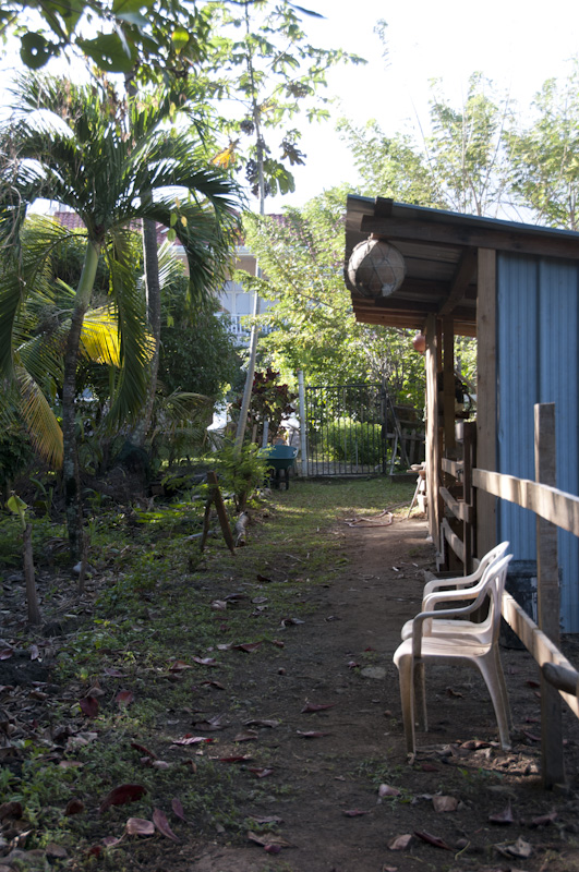 The donkey stall along the path from the villa to the beach.  This view faces the villa.