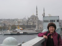 Carol on a bridge Istanbul