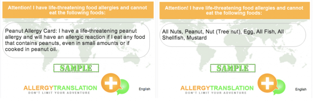 Carte Allergy Translation