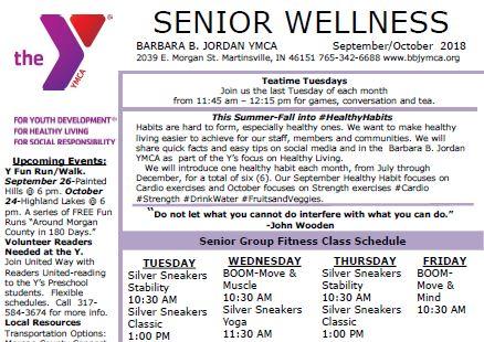 September October 2018 Senior Newsletter Barbara B Jordan YMCA