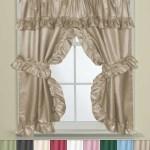 Bathroom Window Curtain Set W Tie Backs Ruffle Valance Lauren 70 X45 Ebay