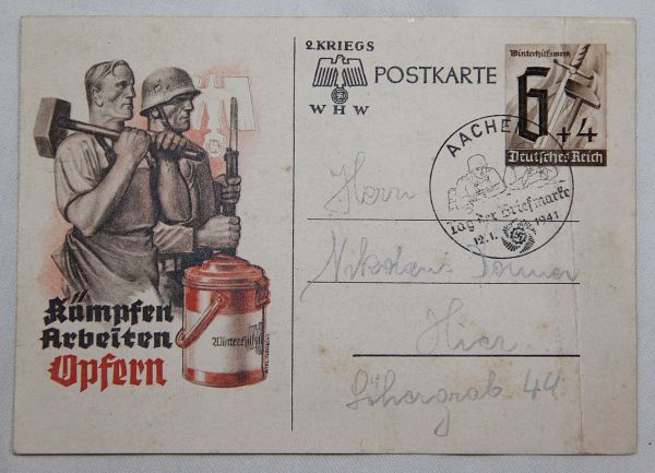 R013. WWII GERMAN WINTER RELIEF, WHW POSTCARD, 1941 DATED