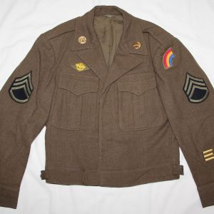 WWII U.S. UNIFORMS, GROUPINGS, SHIRTS, TROUSERS, HBT'S, OVERCOATS, UNDERWEAR, SOCKS, BOOTS