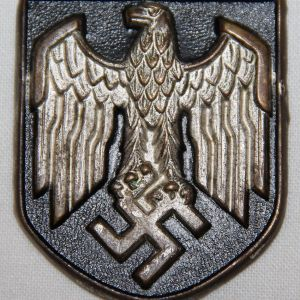 P012. WWII GERMAN ARMY TROPICAL PITH HELMET NATIONAL EAGLE SHIELD