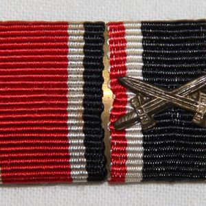 Q045. WWII GERMAN 2 PLACE RIBBON BAR EKII AND KVK2 WITH SWORDS