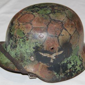 L006. WWII GERMAN LUFTWAFFE DOUBLE DECAL M35 HELMET, CAMO, FORMER CHICKEN WIRE