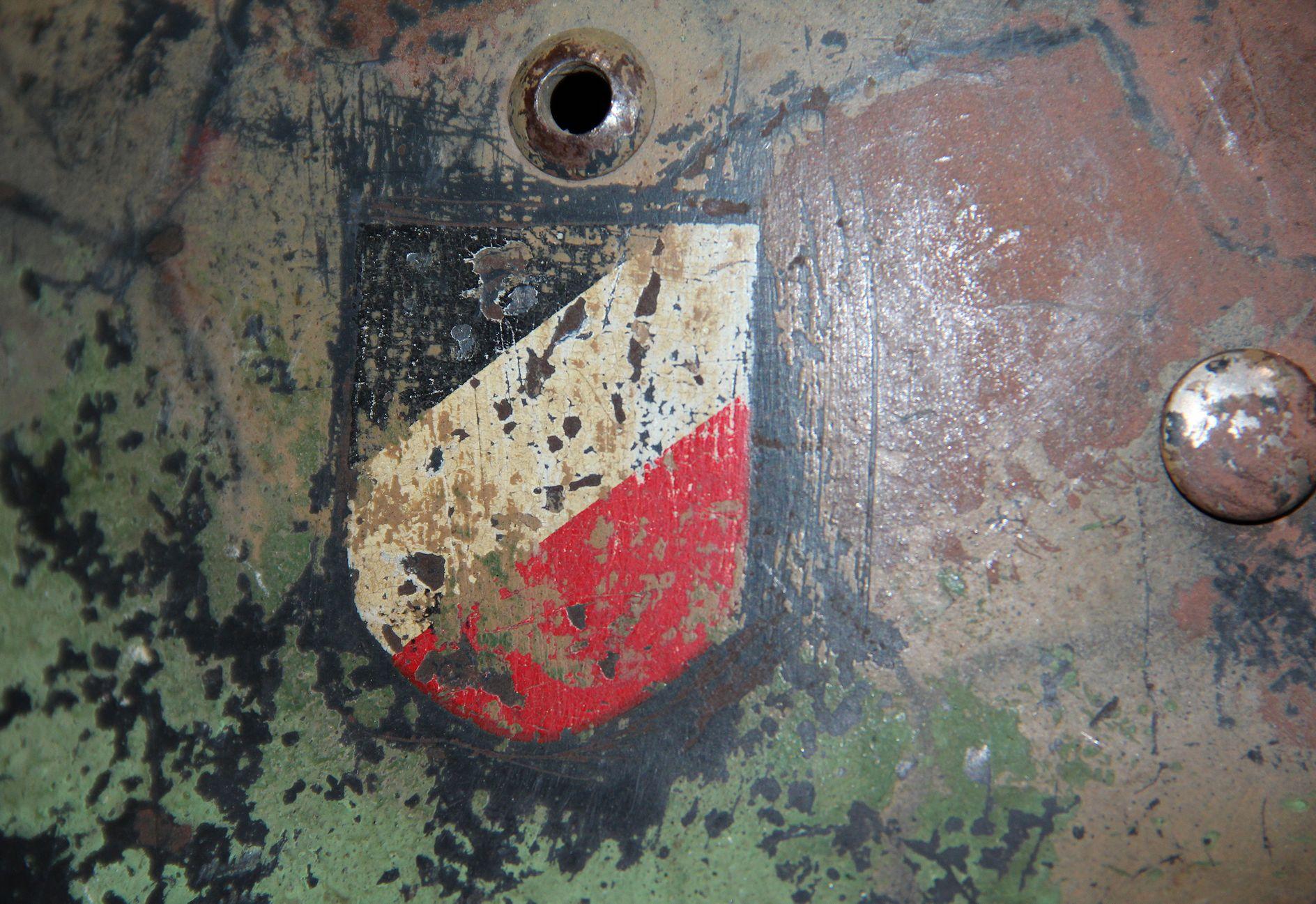 L006. WWII GERMAN LUFTWAFFE DOUBLE DECAL M35 HELMET, CAMO, FORMER ...