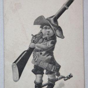 A006. POST SPANISH AMERICAN WAR POSTCARD OF A CHILD IN UNIFORM