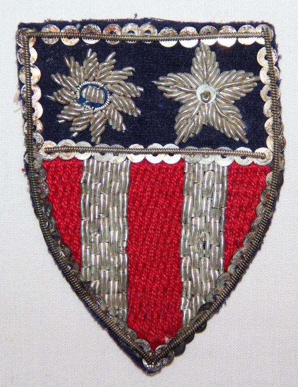 G021. WWII CBI PATCH, SEQUINS, BULLION & CLOTH