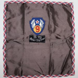 I014. WWII HOME FRONT BRITISH MADE 9TH AAF SOUVENIR HANDKERCHIEF