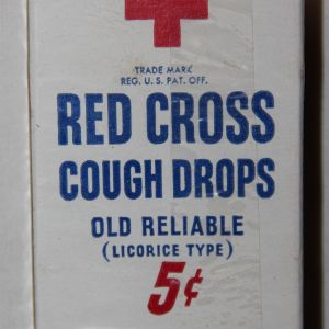 E035. UNOPENED PACKAGE OF WWII RED CROSS COUGH DROPS