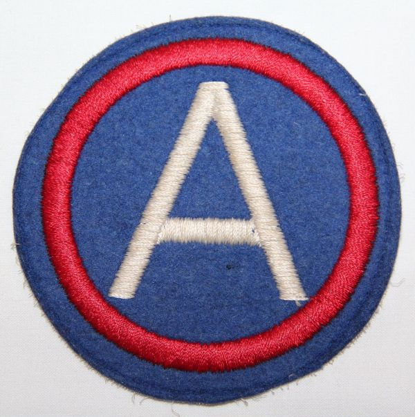"""G035. WWII 4"""" THIRD ARMY PATCH, EMBROIDERED ON FELT"""