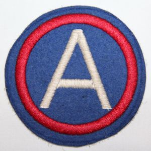 "G035. WWII 4"" THIRD ARMY PATCH, EMBROIDERED ON FELT"
