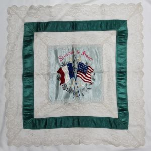 B053. WWI SOUVENIR OF FRANCE LACE & SILK EMBROIDERED TABLE COVER