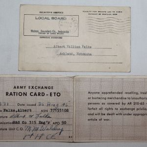 J021. NAMED WWII SOLDIER'S ETO RATION CARD AND MORE