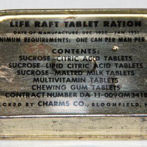 S024. UNOPENED KOREAN WAR LIFE RAFT TABLET RATION, 1951 DATED
