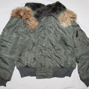 T059. VIETNAM 1966 DATED USAF N-2B FLIGHT JACKET WITH FUR HOOD