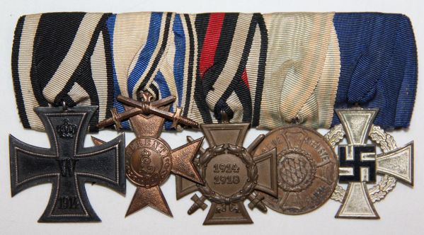 Q028. WWI-WWII GERMAN 5 PLACE MOUNTED MEDAL GROUP