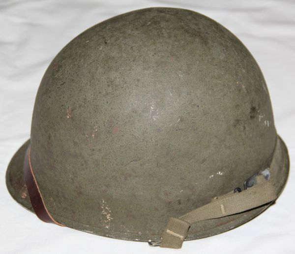 C025. WWII FRONT SEAM SWIVEL LOOP M1 HELMET WITH MSA LINER