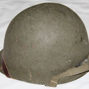 C025. WWII FRONT SEAM SWIVEL LOOP M1 HELMET WITH MSA LINER