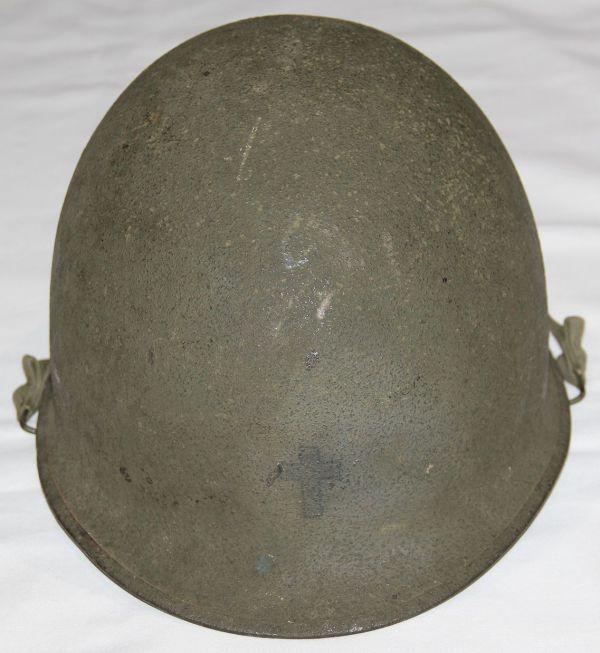 C027. POST WWII REAR SEAM SWIVEL LOOP CHAPLAIN M1 HELMET WITH CAPAC LINER