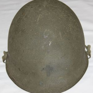 C027. POST WWII REAR SEAM SWIVEL LOOP CHAPLAIN M1 HELMET WITH CAPAC LINER