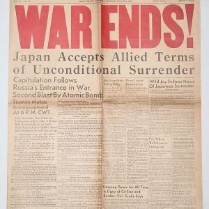 """I029. WWII HOME FRONT AUGUST 14, 1945 """"WAR ENDS"""" NEWSPAPER"""