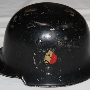 L020. PRE WWII GERMAN FIRE POLICE HELMET WITH CANTED DECALS