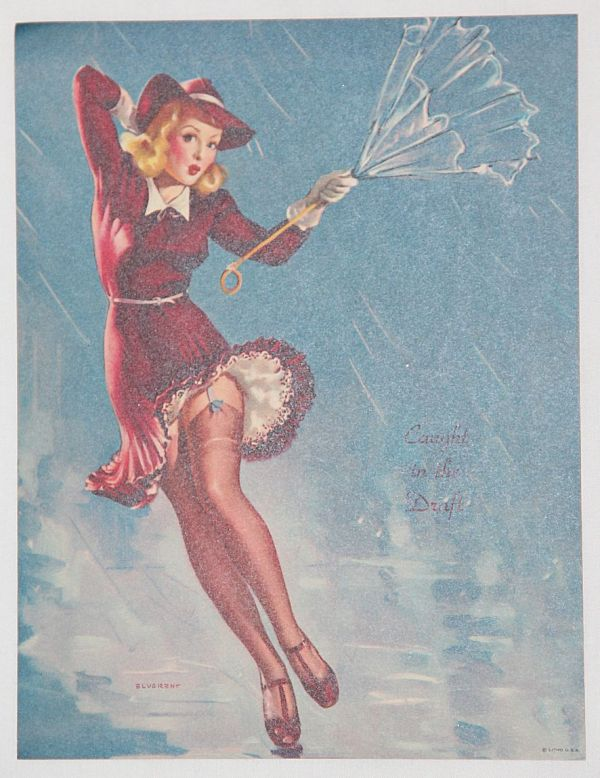 """J028. WWII PIN-UP LITHOGRAPH ART """"CAUGHT IN THE DRAFT"""""""