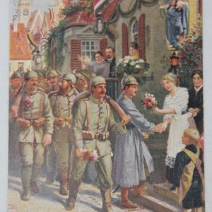B087. WWI GERMAN COLOR POSTCARD WITH SOLDIERS MARCHING TO WAR