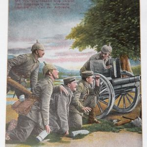 B088. WWI GERMAN COLOR POSTCARD WITH AN ARTILLERY CREW