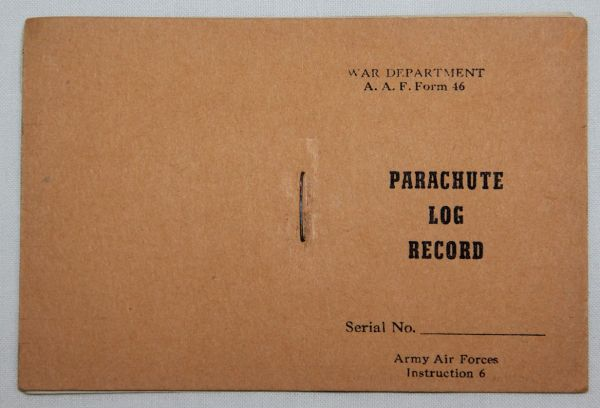 J038. UNISSUED WWII AAF PARACHUTE LOG RECORD BOOK