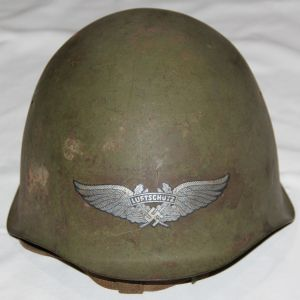 L021. WWII CAPTURED RUSSIAN SSH-39 COMBAT HELMET WITH LUFTSCHUTZ DECAL