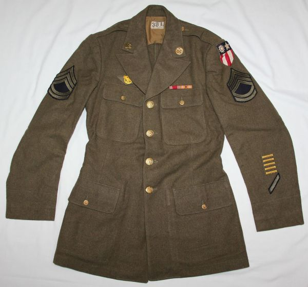 D034. WWII THEATER MADE IN INDIA FOUR POCKET UNIFORM BLOUSE WITH CBI PATCH