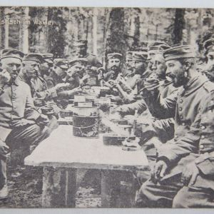 B121. WWI GERMAN POSTCARD NOON MEAL IN THE FOREST