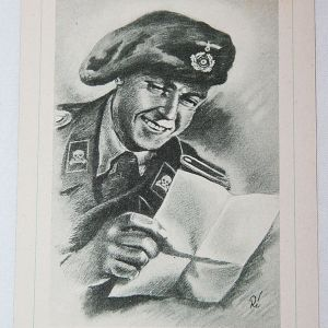 "R037. WWII GERMAN POST CARD ""PANZERMANN"""