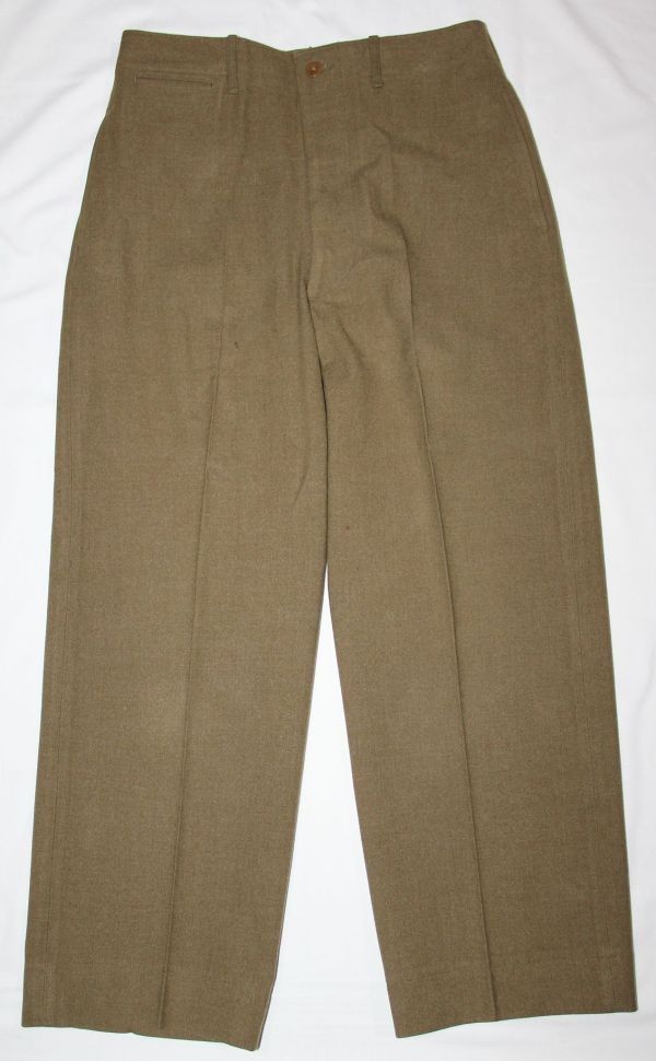 D036. WWII 1943 DATED MUSTARD COLOR WOOL COMBAT FIELD TROUSERS
