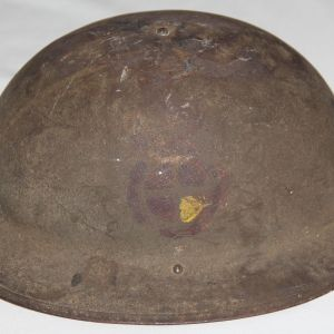 B129. WWI NAMED 129TH FIELD ARTILLERY 35TH DIVISION M1917 COMBAT HELMET