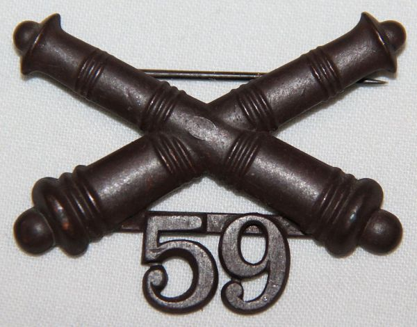 A027. 1903 ERA 59TH COAST ARTILLERY CORPS COLLAR INSIGNIA