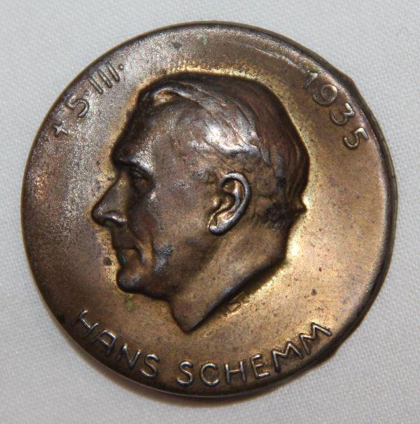 P063. WWII GERMAN HANS SCHEMM 1935 MEMORIAL TINNIE