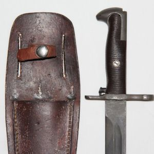 F027. WWII 1942 AFH M1 GARAND BAYONET IN CUSTOM LEATHER SCABBARD