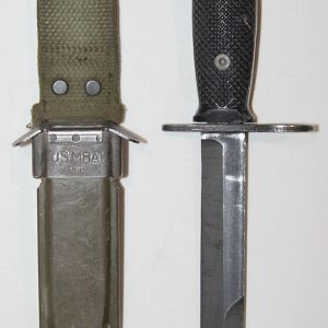 T113. VIETNAM ERA M7 BAYONET FOR M16 RIFLE WITH M8A1 SCABBARD