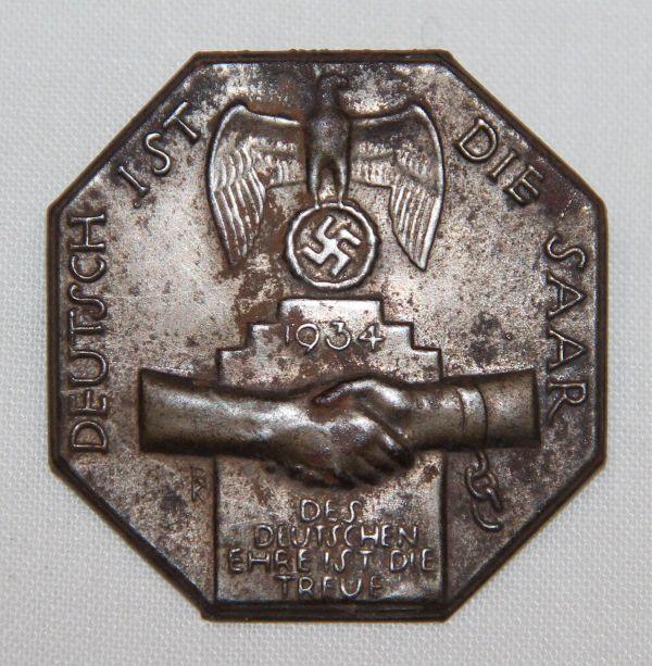 P070. WWII GERMAN 1934 SAAR REUNIFICATION TINNIE