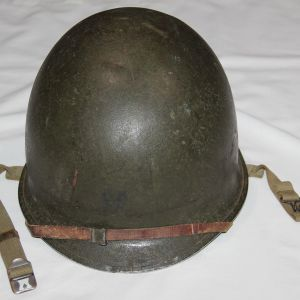 C045. WWII FIXED LOOP M1 HELMET WITH EARLY WESTINGHOUSE LINER